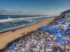 Snow on the beach at Nauset Light Beach, Cape Cod.